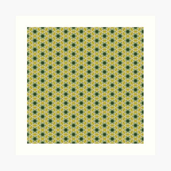 Retro Tropical Leaf Pattern 219 Art Print