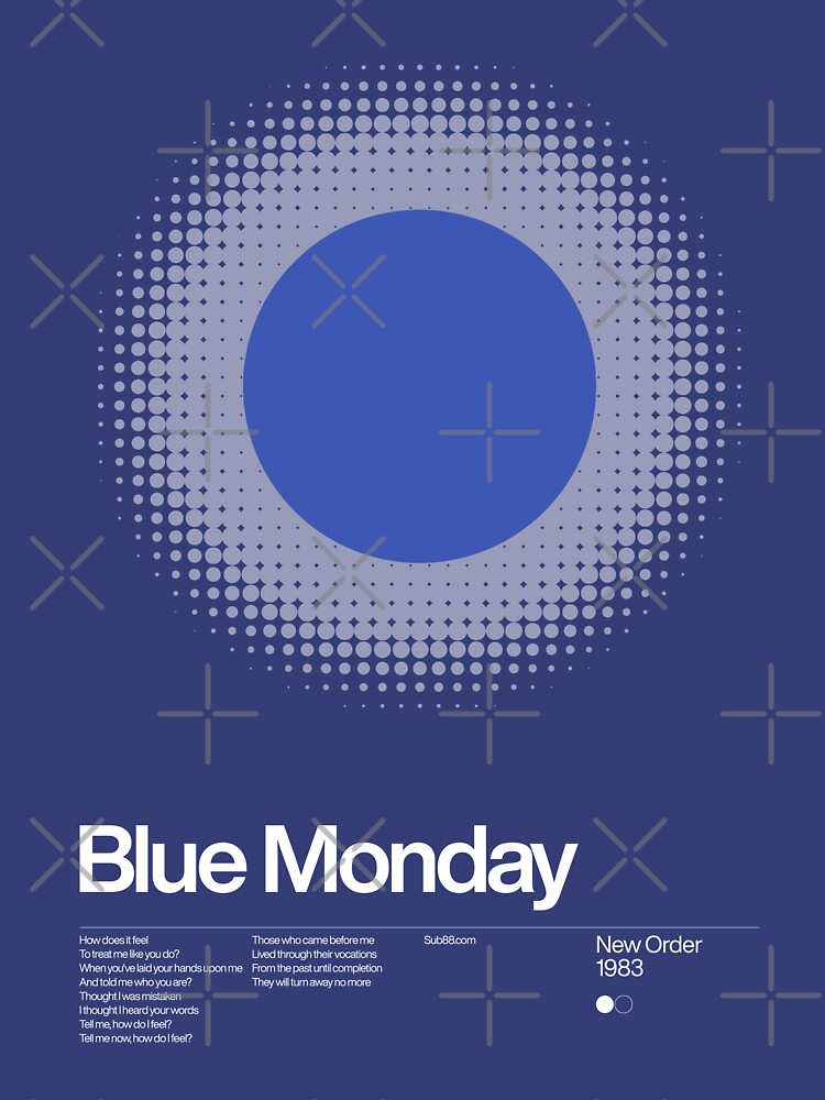 New Order - Blue Monday 1983 - New Wave song Minimalistic Swiss Graphic Design by sub88