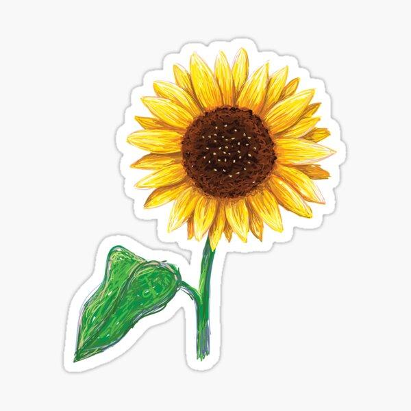 Sunflower with stem and green leaf sticker Sticker