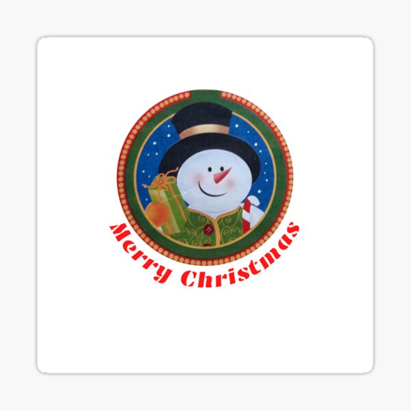 Merry Christmas Snowman with gifts Sticker