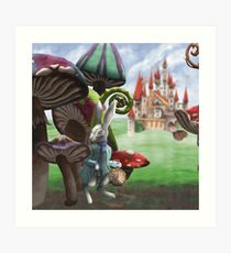 White Rabbit in the Wonderland Toadstool Forest Art Print