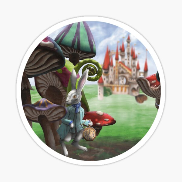 White Rabbit in the Wonderland Toadstool Forest Sticker
