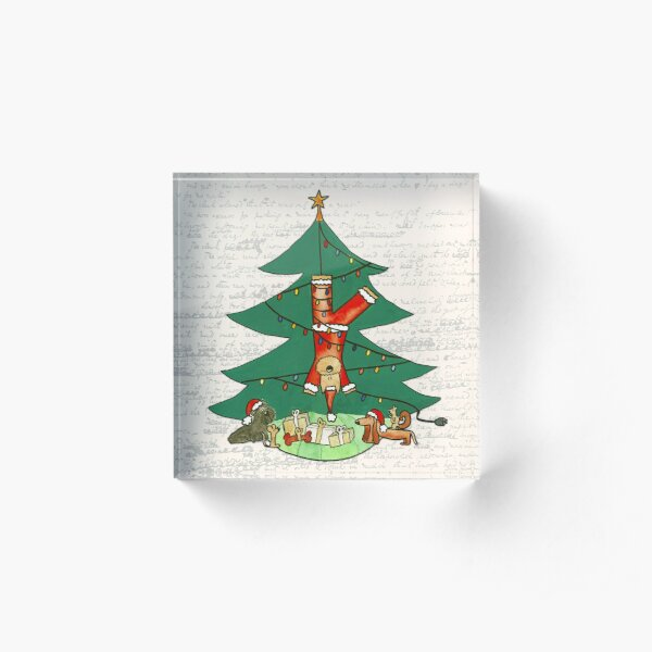 Funny Christmas Dog Painting - Santa Claus Hanging from a Christmas Tree Acrylic Block