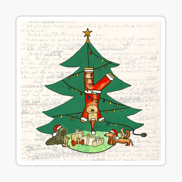 Funny Christmas Dog Painting - Santa Claus Hanging from a Christmas Tree Sticker