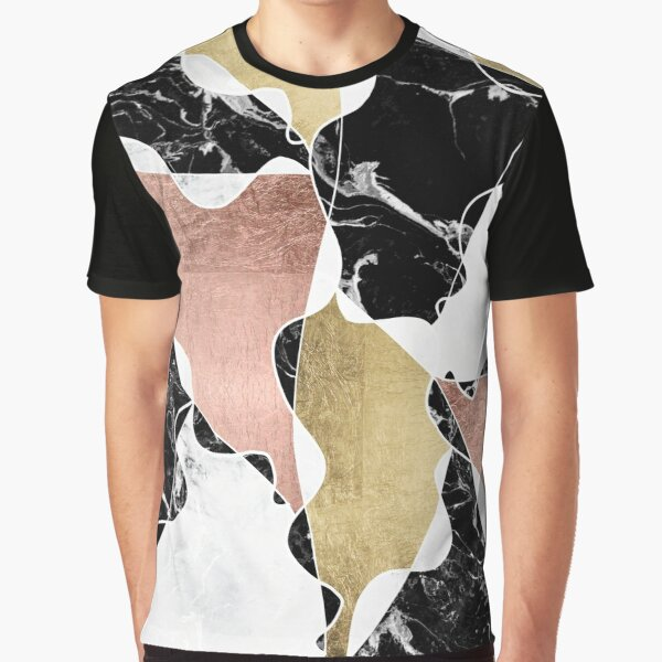 Rose gold black white marble color block stylish Graphic T-Shirt