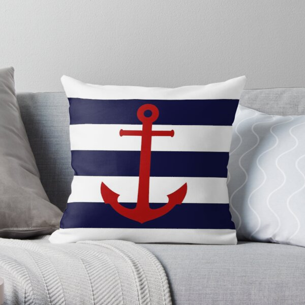 Nautical Red Anchor On Navy Blue Stripes Throw Pillow