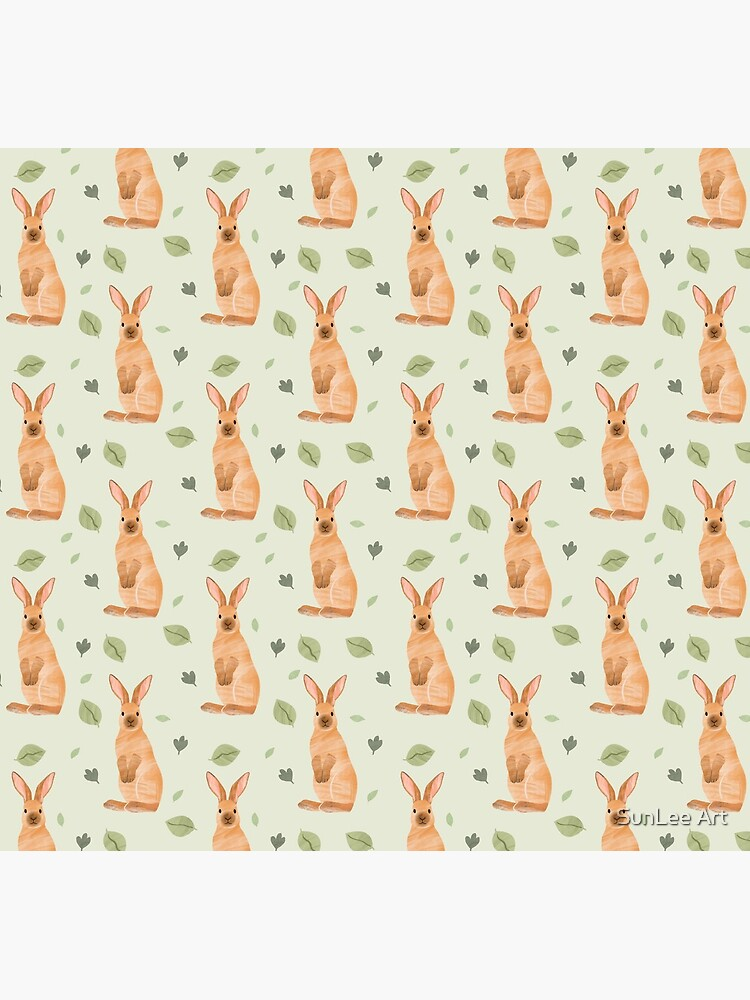 Rabbit and Leaf Pattern by sunleeart