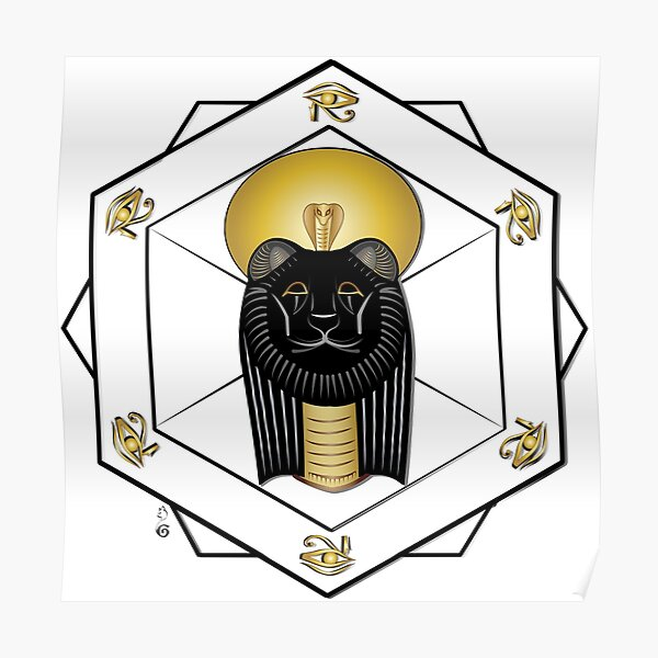 Golden Sekhmet, egyptian goddess Poster