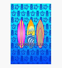 Pink Born To Surf Blue Tiki Mask Photographic Print