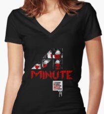 4 Minuten Hass Tailliertes T-Shirt mit V-Ausschnitt