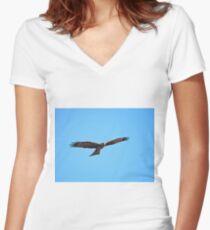 Black Kite Soaring Women's Fitted V-Neck T-Shirt