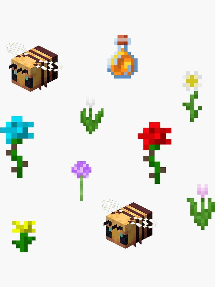 minecraft estética abeja y flor 10 hoja de pegatinas de aestheticvibing