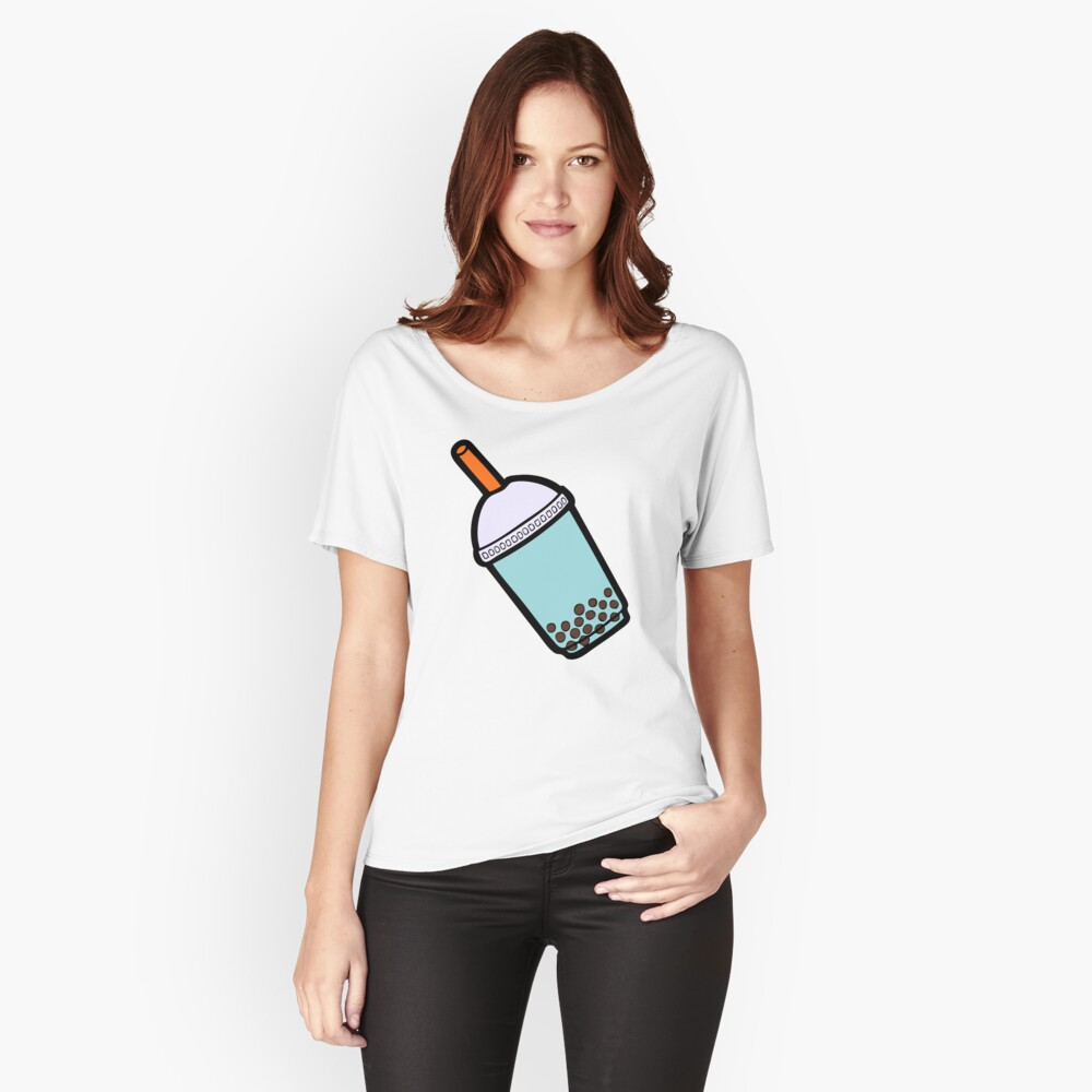 Bubble Tea Pattern Relaxed Fit T-Shirt