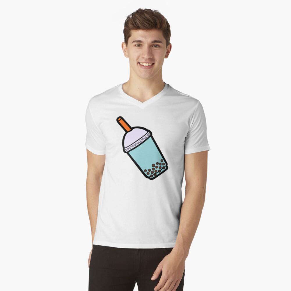 Bubble Tea Pattern V-Neck T-Shirt