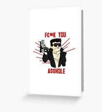 CYBORG FROM THE FUTURE Censored Version  Greeting Card