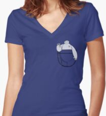 POCKET PERSONAL HEALTHCARE COMPANION Women's Fitted V-Neck T-Shirt