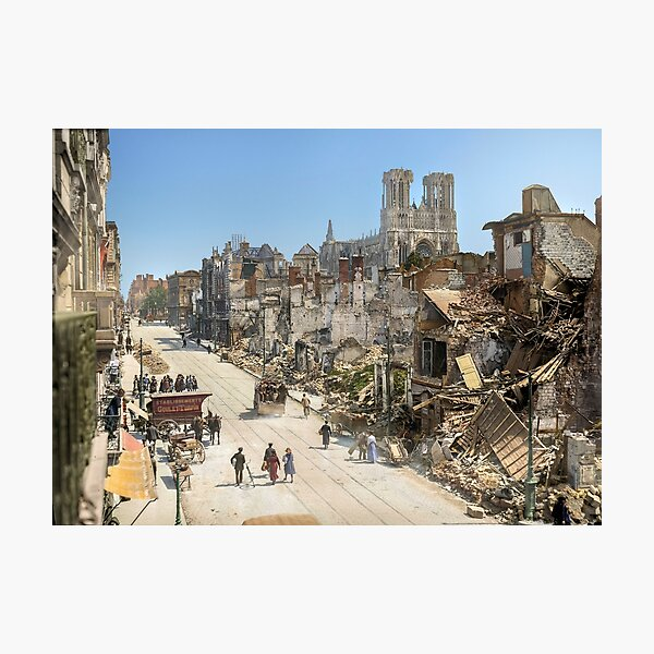 Rheims, France in 1919 after 4 years of shell fire during World War I Photographic Print