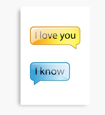 i love you text Canvas Print