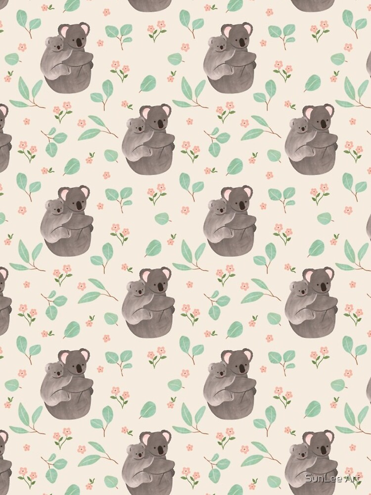 Koala and Eucalyptus Pattern by sunleeart