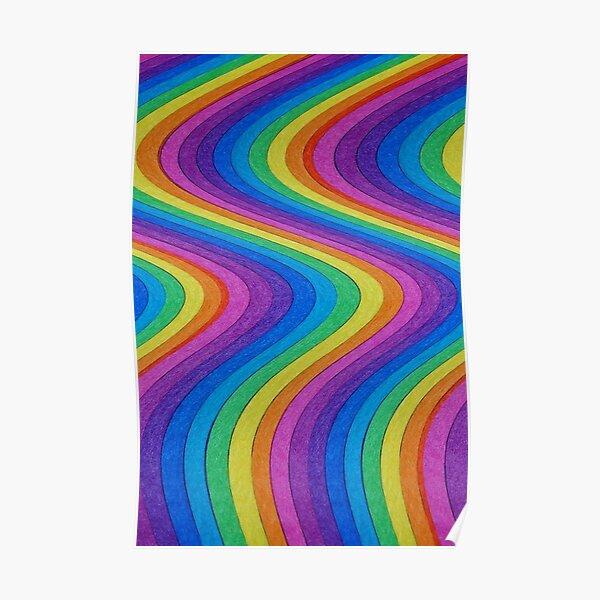 vagues arc-en-ciel Poster