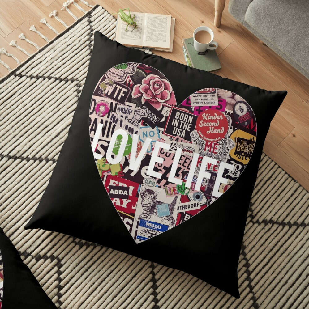 Love Life Grunge Heart Floor Pillow