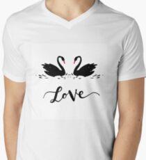 Inscription Love a couple of black swans. Romantic lettering T-Shirt