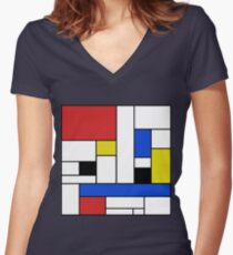 Mondrian Lines Women's Fitted V-Neck T-Shirt