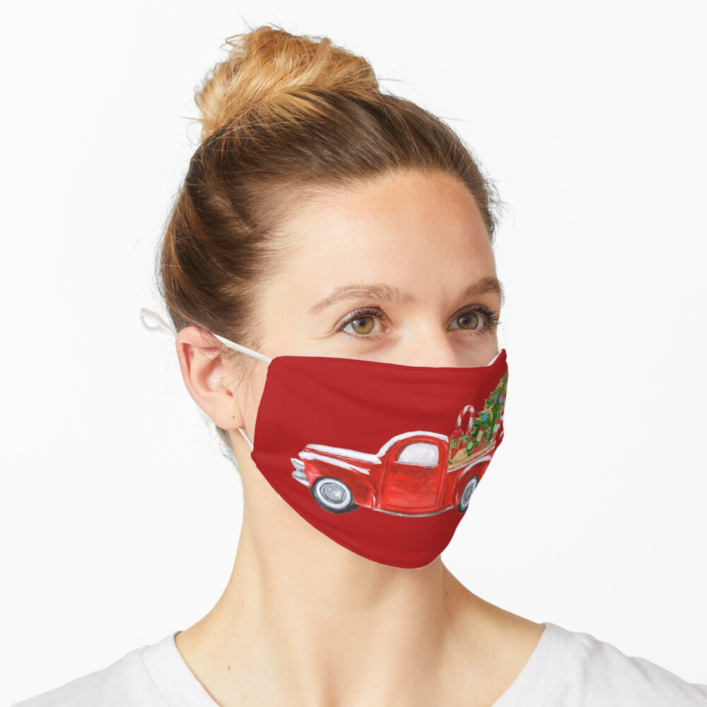 Vintage Red Truck Christmas Tree  Mask
