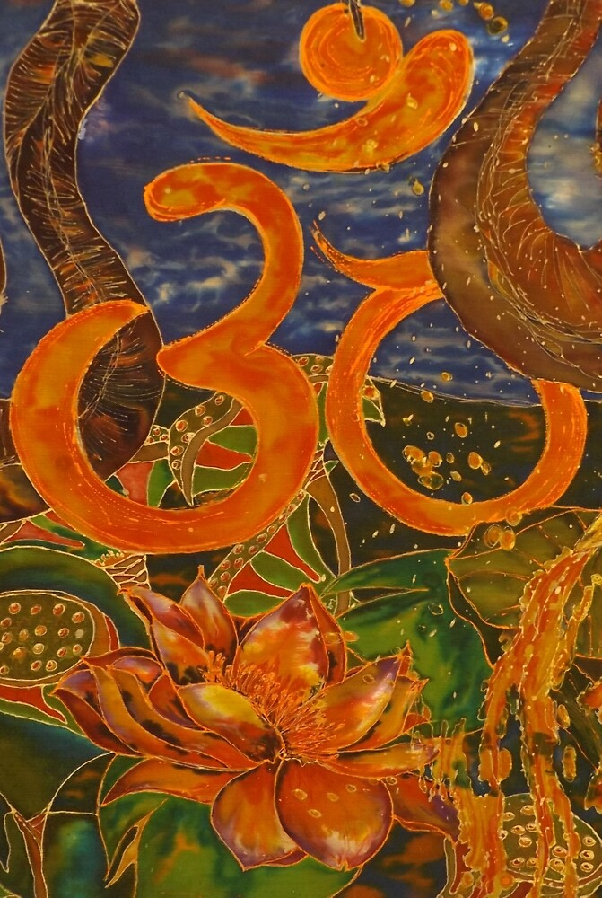 Om the Centre of my Sanctuary Silk Painting by Stefanie Wilhelm