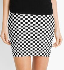 Check pattern. Checkered pattern. Black and white check pattern. Checkerboard. Chessboard. Mini Skirt