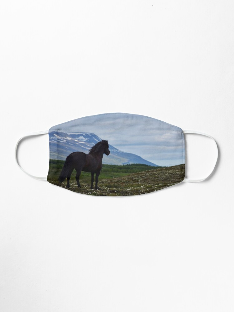 Alternate view of Icelandic horse looking out over his summer field Mask