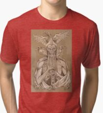 grayscale image of dead king with birds2 Tri-blend T-Shirt