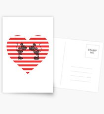 Striped Heart Postcards