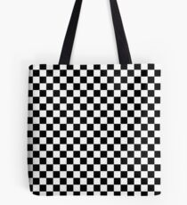 Check pattern. Checkered pattern. Black and white check pattern. Checkerboard. Chessboard. Tote Bag