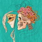 illustration with skull holding a human face mask by Nadiiaz