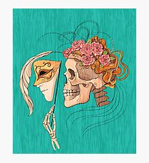 illustration with skull holding a human face mask Photographic Print