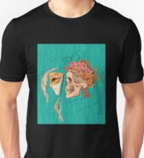 illustration with skull holding a human face mask Unisex T-Shirt