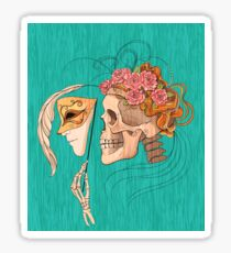 illustration with skull holding a human face mask Sticker