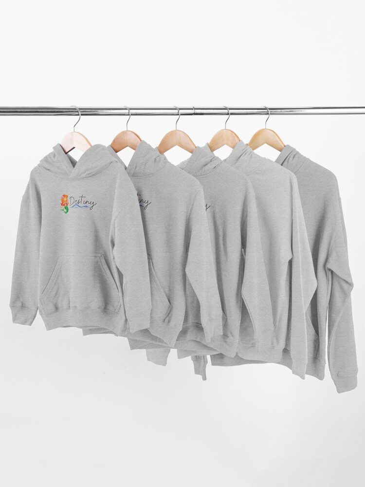 Alternate view of Custom Name: Destiny with Mermaid and Starfish Kids Pullover Hoodie