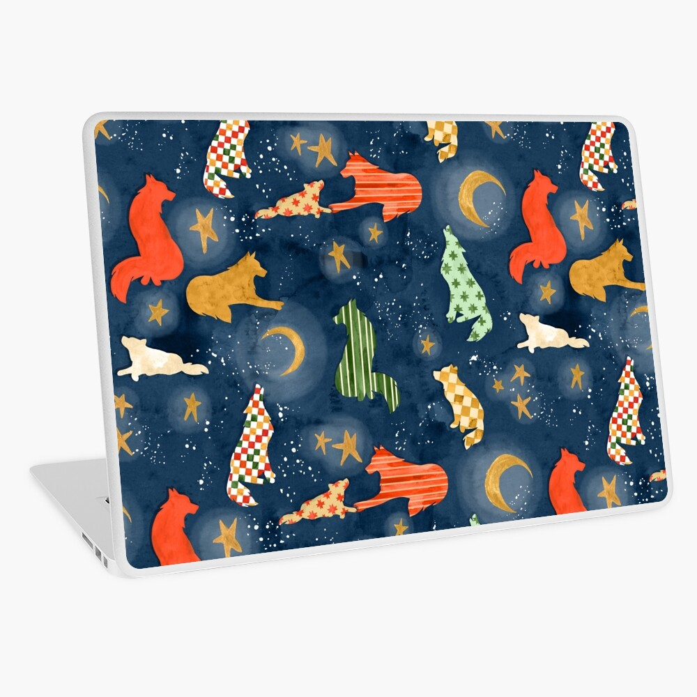 Wolves at Night - Hand Painted Watercolor Pattern Laptop Skin