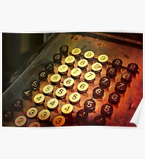 Antique Adding Machine Keys - photography Poster