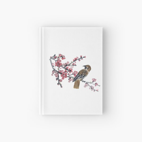 Bird and cherry blossom watercolour Hardcover Journal