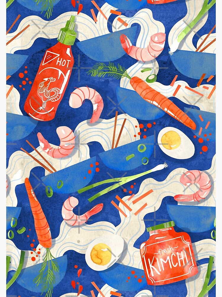 Spicy Shrimp Ramen - Watercolor Noodles by annieparsons