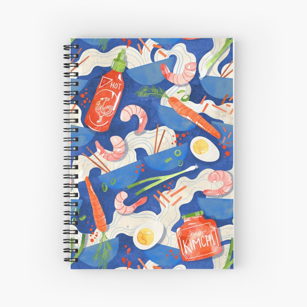 Spicy Shrimp Ramen - Watercolor Noodles Spiral Notebook