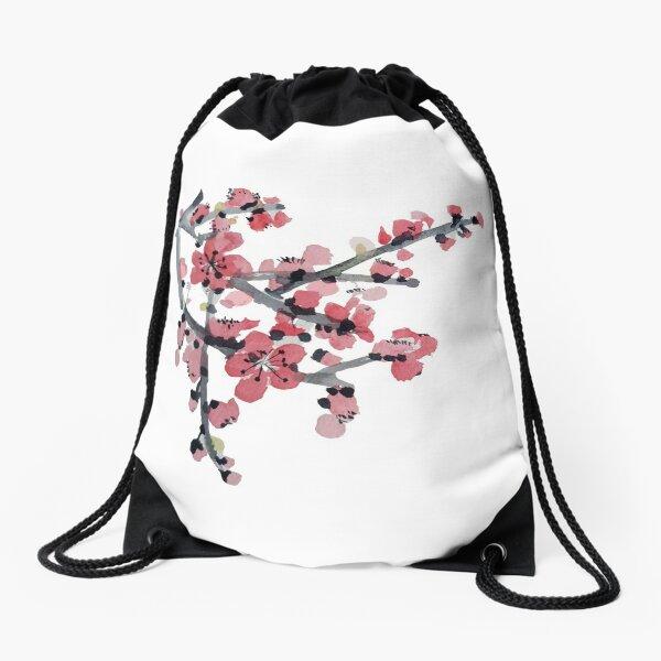 Cherry blossom watercolour Drawstring Bag