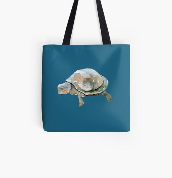 Happy Turtle All Over Print Tote Bag
