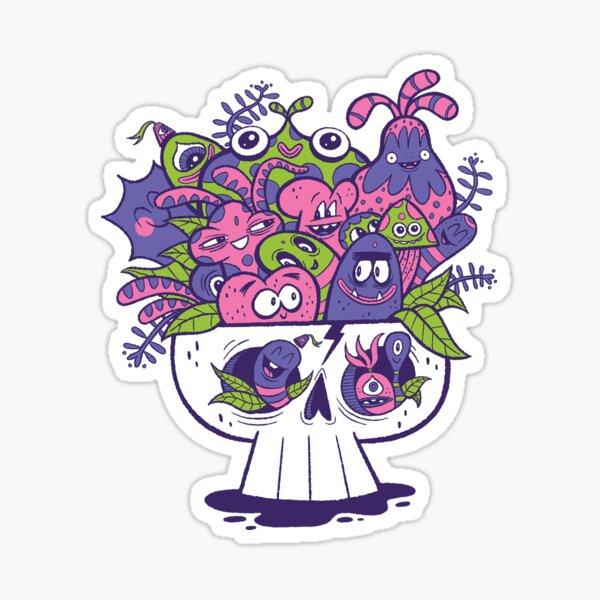 Skull Doodle Creatures Sticker