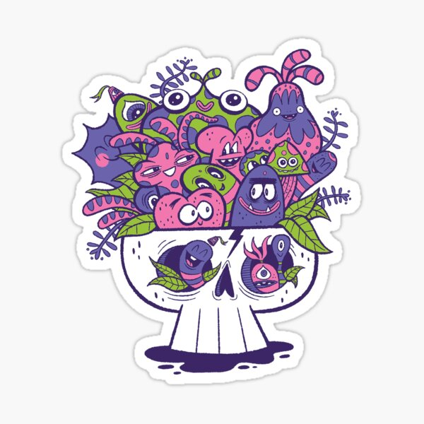 Creature Doodle Skull Sticker