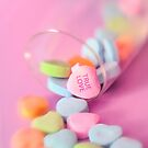 Romantic True Love Valentines Day Candy Hearts Card by Marianne Campolongo