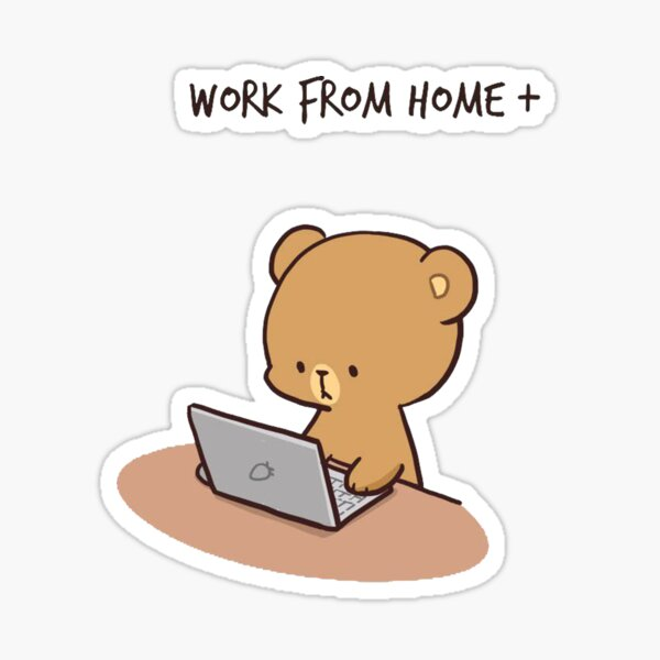 Working from home! Milk and Mocha  Sticker